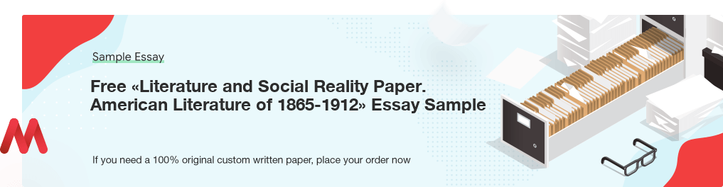 Free Custom «Literature and Social Reality Paper. American Literature of 1865-1912» Essay Sample